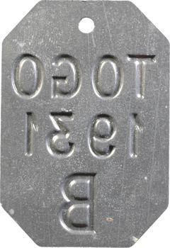 Togo, plaque de taxe, B, 1931