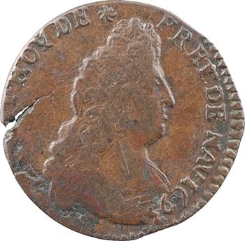 Louis XIV, liard de cuivre, 3e type, 1693 Troyes