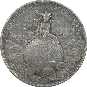 Russie/France, médaille satirique allemande par M et W à Stuttgart, fin de l'amitié franco-russe, c.1897