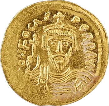 Phocas, solidus, Constantinople, 8e officine, 607-610