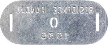 Indochine, Cambodge, Kandal (Résidence de), plaque de taxe n° 0, 1939
