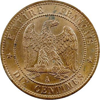 Second Empire, dix centimes tête nue, 1853 Paris