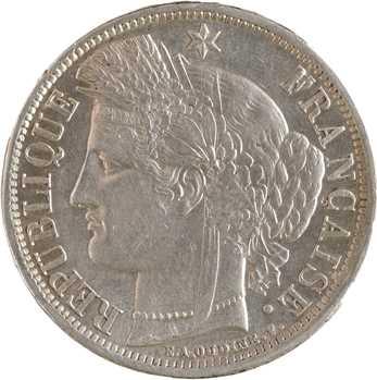 Gvt de Défense nationale, 5 francs Cérès sans légende, 1870 Bordeaux (ancre)