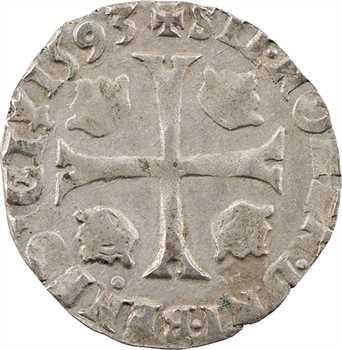 Charles X, douzain aux 2 C, 1er type, 1593 Troyes