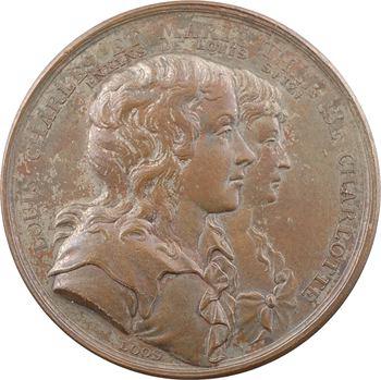Louis XVII et Marie Thérèse Charlotte, l'énigme, par Loos, en bronze, c.1795 Berlin