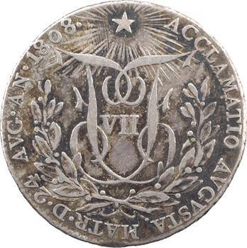 Espagne, Ferdinand VII, médaille d'avènement au module de 2 réaux, 1808 Madrid