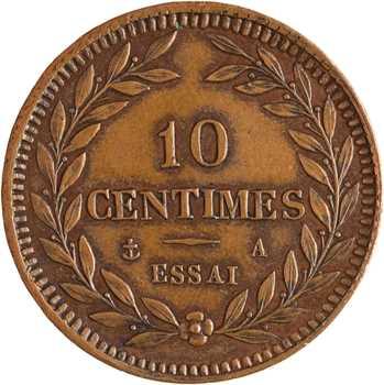 Charles X, essai de 10 centimes bronze, flan épais, s.d. Paris