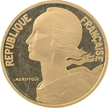 Ve République, piéfort de 10 centimes Lagriffoul en or, 1979 Paris