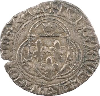Louis XI, blanc à la couronne, FRANCORVM et NOMEN, 2e émission, Troyes