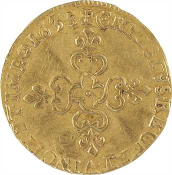 Louis XIII, écu d'or au soleil, 1635 Amiens
