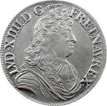 Louis XIV, écu à la cravate, 2e émission par F. Warin, 1680 Paris