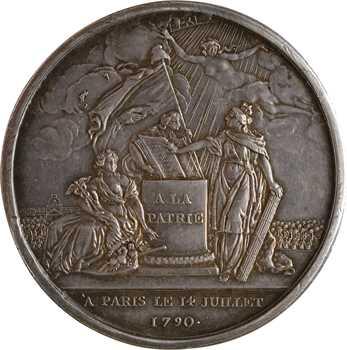 Constitution, Confédération des Français, doublement détournée en médaille de mariage, 1790 (1829/1868) Paris