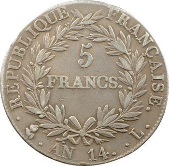 Premier Empire, 5 francs tête nue, calendrier révolutionnaire, An 14 Bayonne