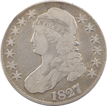 États-Unis, 50 cents ou demi-dollar Capped bust, 1827/6 Philadelphie