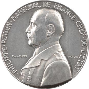 IIe Guerre Mondiale, le Maréchal Pétain, par Pierre Turin, petit module en argent, 1941 Paris