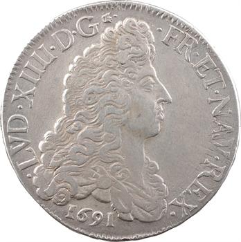 Louis XIV, écu aux huit L, 1er type, 1691 Troyes