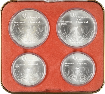 Canada, Elizabeth II, Jeux Olympiques de Montréal, coffret de 2 x 5 et 2 x 10 dollars, 1976