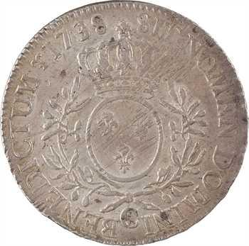 Louis XV, écu aux rameaux d'olivier, 1738 Caen