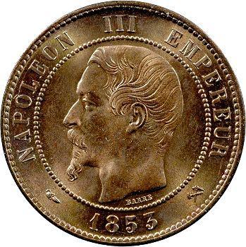 Second Empire, dix centimes tête nue, 1853 Rouen