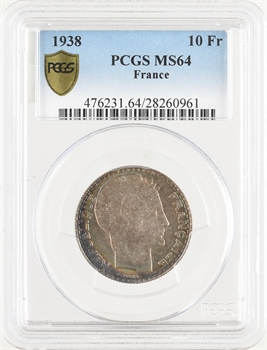 IIIe République, 10 francs Turin, 1938 Paris, PCGS MS64