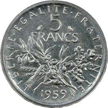 Ve République, 5 francs essai, 1959 Paris
