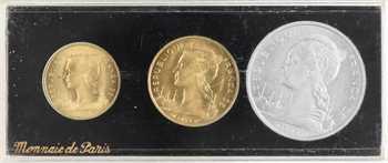 Réunion (île de la), coffret de trois essais de 5, 10 et 20 francs, 1955 Paris