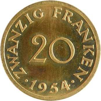 Allemagne, Sarre, essai de 20 francs, 1954 Paris