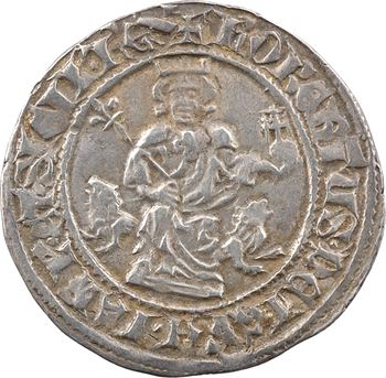Provence (comté de), frappe posthume au nom de Robert d'Anjou, carlin ou gillat immobilisé, c.1350-1400 Naples ?