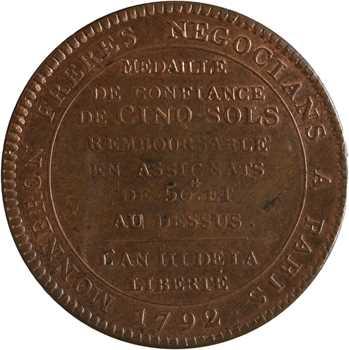Constitution, cinq sols de Monneron au serment, An III, 1792 Birmingham