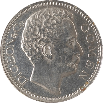 Nouvelle-Calédonie, Digeon and Co, 5 francs, ville de Gomen, 1882