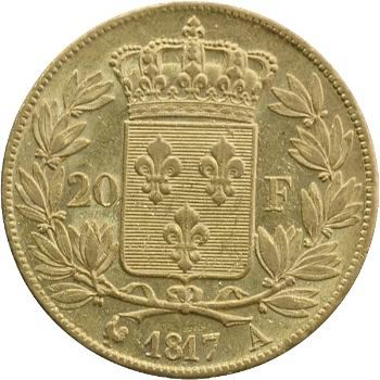 Louis XVIII, 20 francs buste nu, 1817 Paris