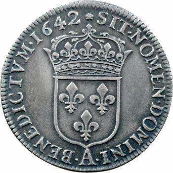Louis XIII, demi-écu d'argent, 2e type (1er poinçon), 1642 Paris (rose)