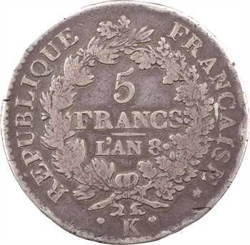 Directoire, 5 francs Union et Force [UNION desserré, grande feuille, sans glands intérieurs], An 8 Bordeaux