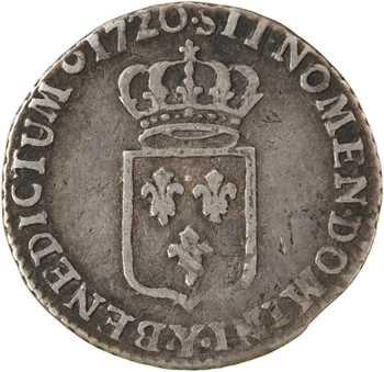 Louis XV, sixième d'écu de France, 1720 Bourges