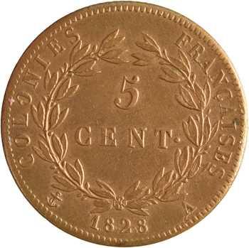 Charles X, 5 centimes pour les colonies, 1828 Paris