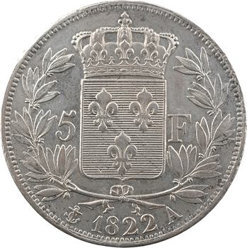 Louis XVIII, 5 francs buste nu, 1822 Paris