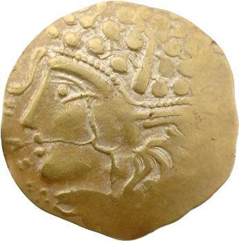 Aulerques Éburovices, hémistatère scyphate sur flan large, type au loup, Ier s.