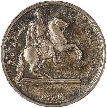 Louis XVIII, rénovation de la statue équestre de Louis XIV, 1822 Paris