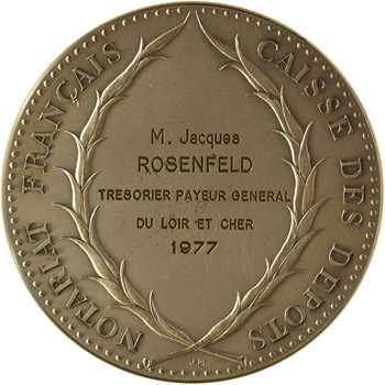 Ve République, Caisse des dépôts du Notariat Français, en argent, par Mauviel, 1977 Paris