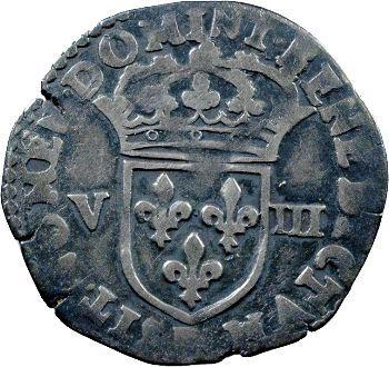 Charles X, huitième d'écu, croix de face, 1591 Rouen