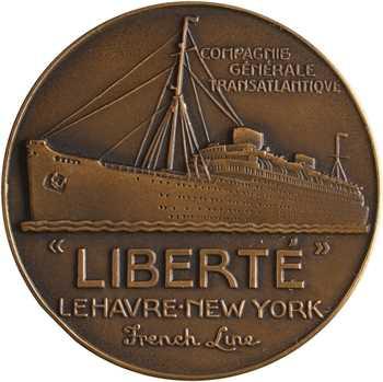 Compagnie Générale Transatlantique, le paquebot Liberté, par Jean Vernon, dans sa boîte, s.d. (1950) Paris