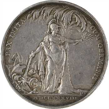 Louis XV, le traité de Vienne (paix avec l'Allemagne), par Duvivier, 1738 Paris