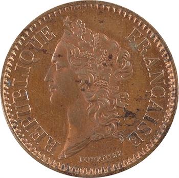 IIe République, concours de 10 centimes par Tournier, en cuivre, 1848 Paris