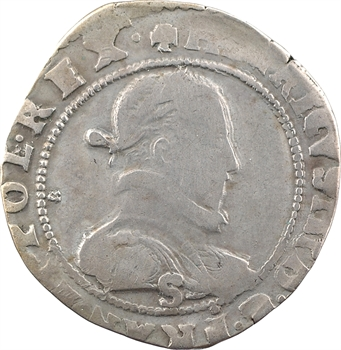 Henri III, demi-franc au col plat, 1589/6 ? Troyes