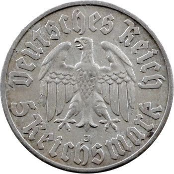Allemagne (Empire d'), 5 reichsmark Martin Luther, 1933 Hambourg