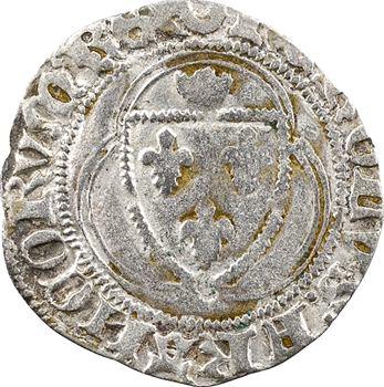 Charles VII, petit blanc à la couronne (croissant, pas de point), 1re émission, Châlons-en-Champagne