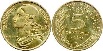 Ve République, coffret de deux essais 5 centimes Lagriffoul, 1966 Paris