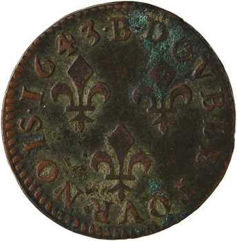 Louis XIII, double tournois, type de Warin, légende latine, 1643 Rouen