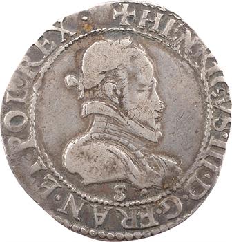 Henri III, demi-franc au col plat, 1577 Troyes