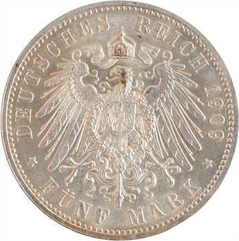 Allemagne, Saxe (royaume de), Frédéric-Auguste III, 5 mark, 1909 Berlin